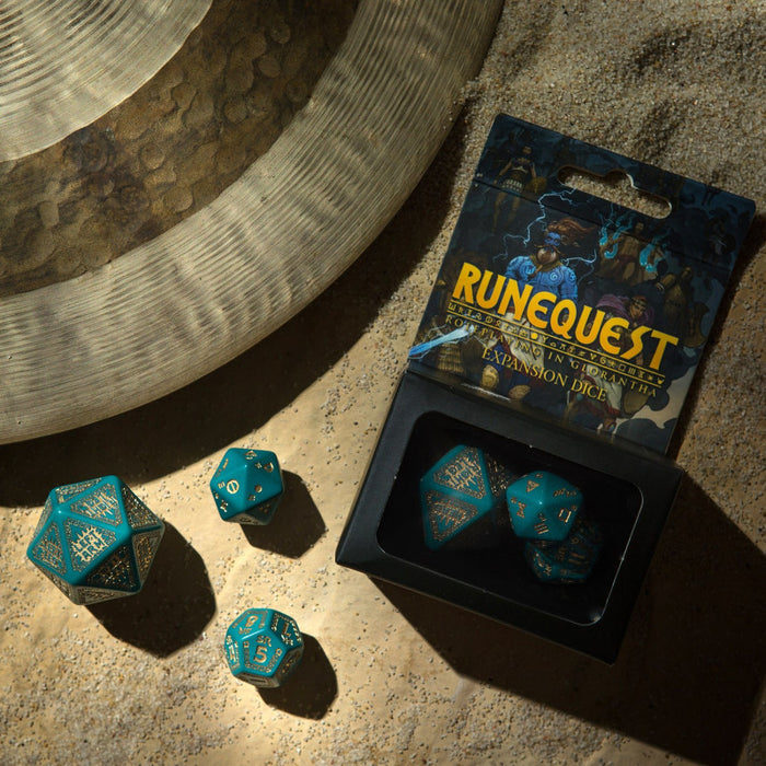 RuneQuest Turquoise & gold Expansion Dice (3) - Q Workshop