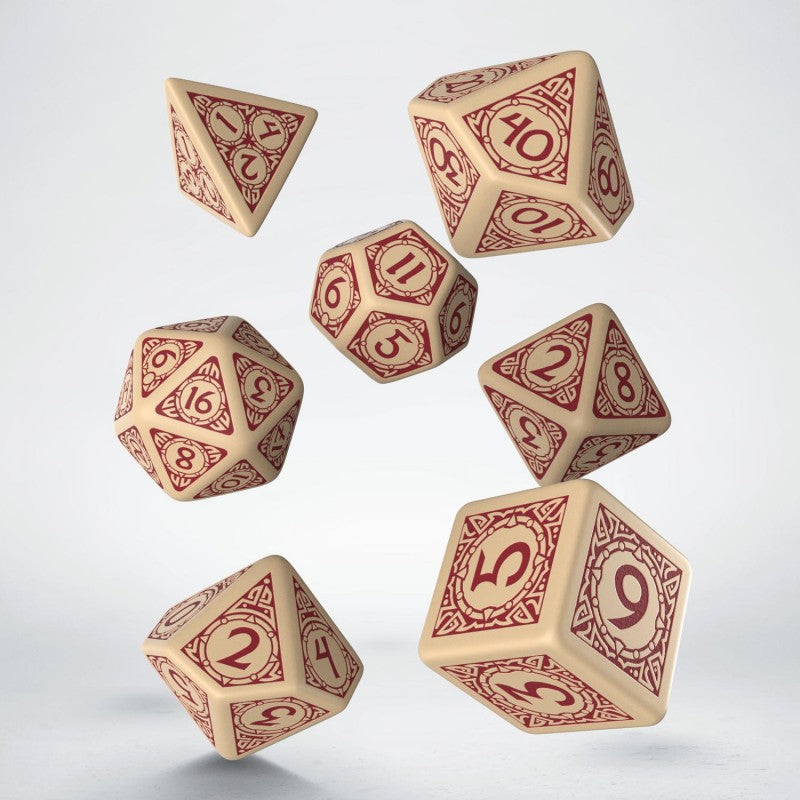 Viking Beige & burgundy Dice Set (7) - Q-Workshop