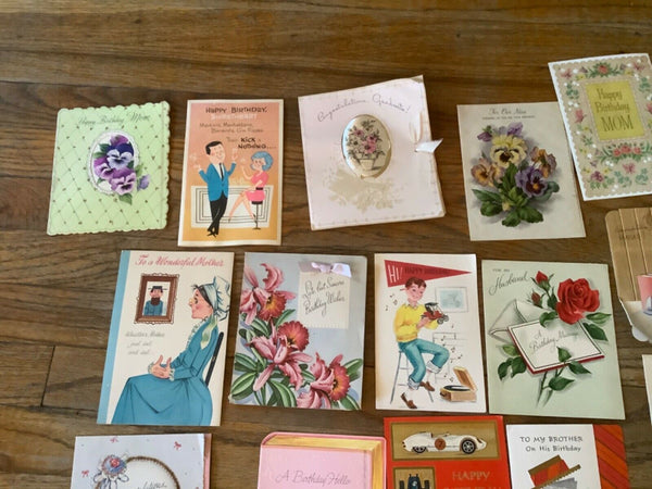 Lot 67 VINTAGE 50's 60's GREETING CARD LOT Birthday graduation get well wishes