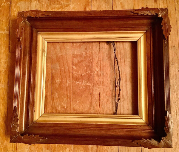 Antique Black Forest Adirondack Picture Frame Carved Wood Arts & Crafts Vtg art