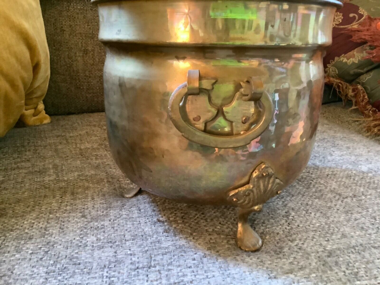 Vintage Hammered Brass copper Lion Head with Claw Feet Planter Pot