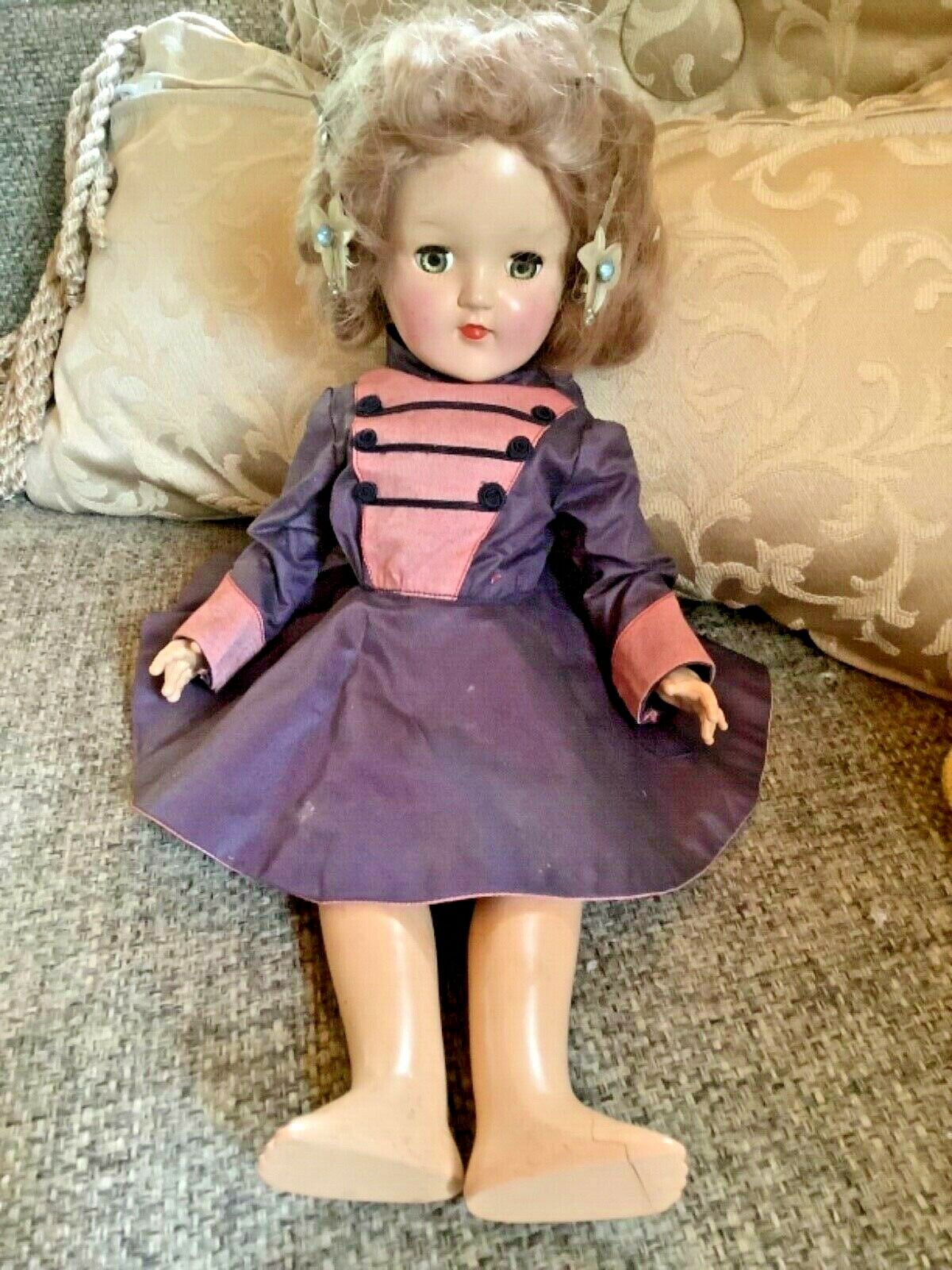 "Vintage Ideal  P-90 Toni Hard Plastic Strung Doll 14""  Dress no shoes"