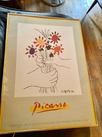 Vintage Picasso Framed Floral flowers Picture Print wall Art picture lithograph