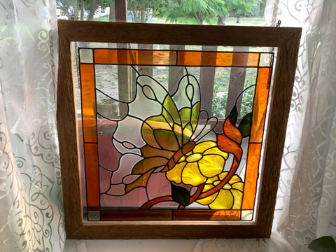 Vtg mid century stained glass leaded window panel Butterfly Garden Flower