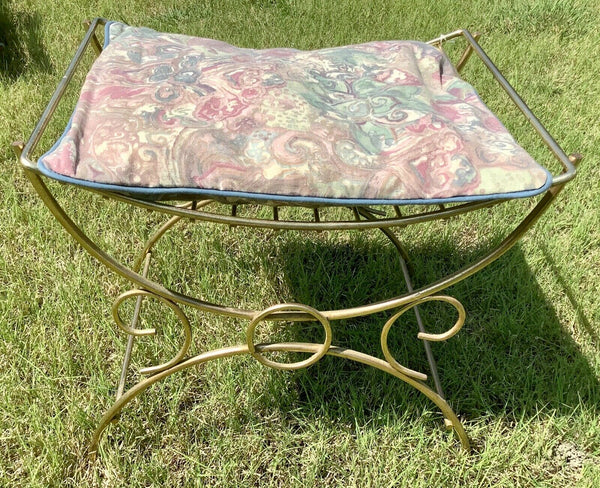 Vtg Hollywood Regency gold vanity bench seat chair Mid-Century modern mcm