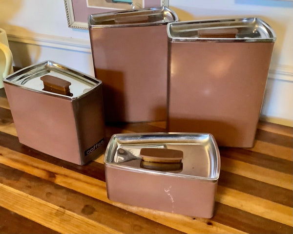 Vtg mcm modern Lincoln Beauty Ware 4-piece tin metal chrome containers canisters