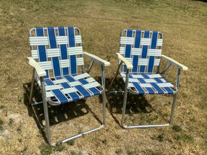 Pair Vintage Aluminum Lawn Chair Webbed Lounge Chairs blue white green