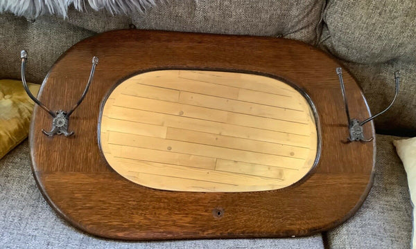Antique Vtg  Wood Oak Wall Mirror Beveled Glass Brass hooks hat coat rack oval