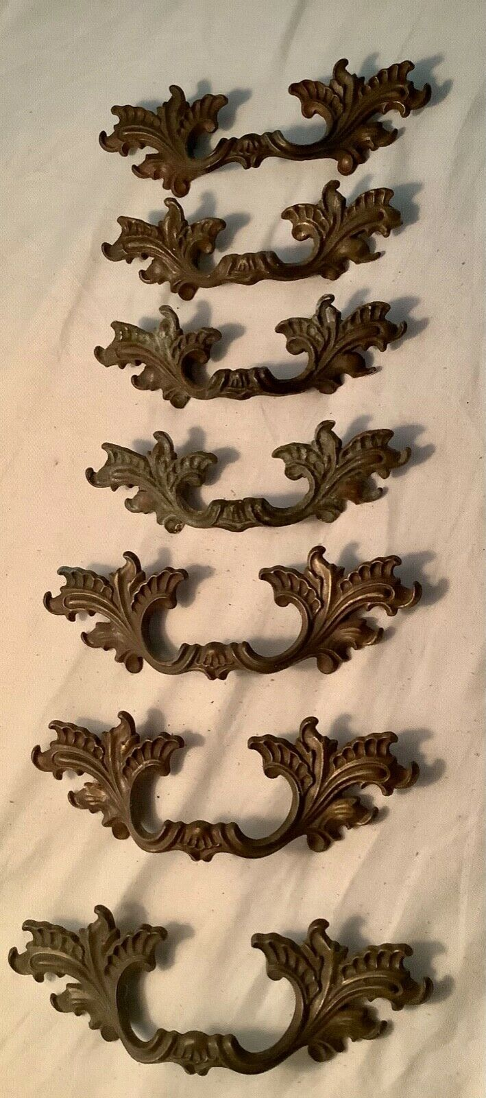 French Provincial Shabby Dresser Handles Pulls LOT OF 7 Vintage