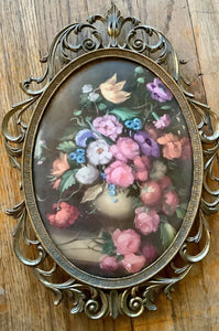 Vintage Oval Brass Frame Floral Picture in Convex Bubble Glass Made In Italy
