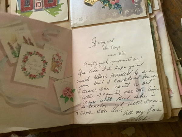 Vtg 1950's Greeting Cards and letters Scrapbook Texas