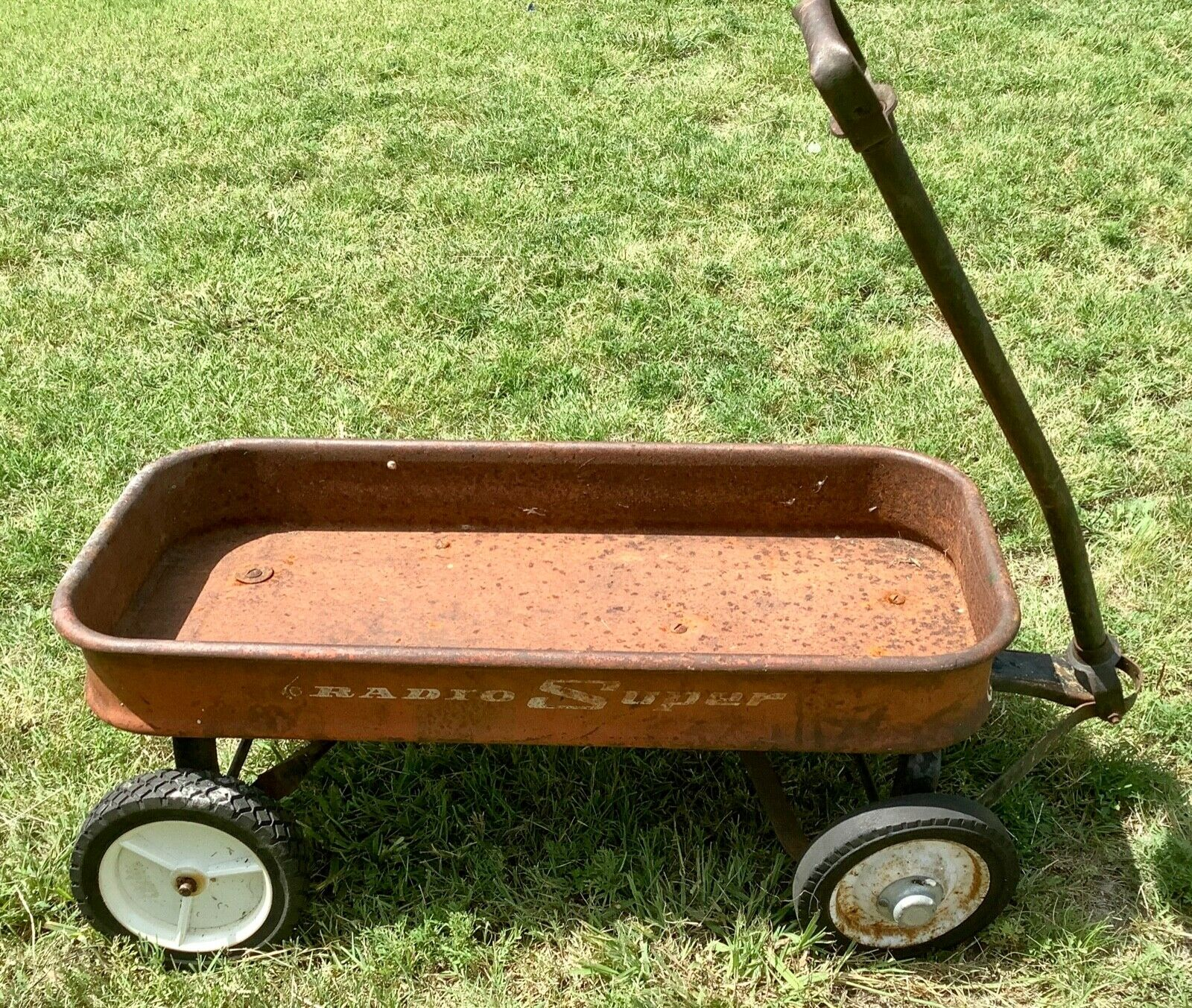Original Vintage antique RADIO SUPER Red Wagon Metal USA Childs Kids Pull