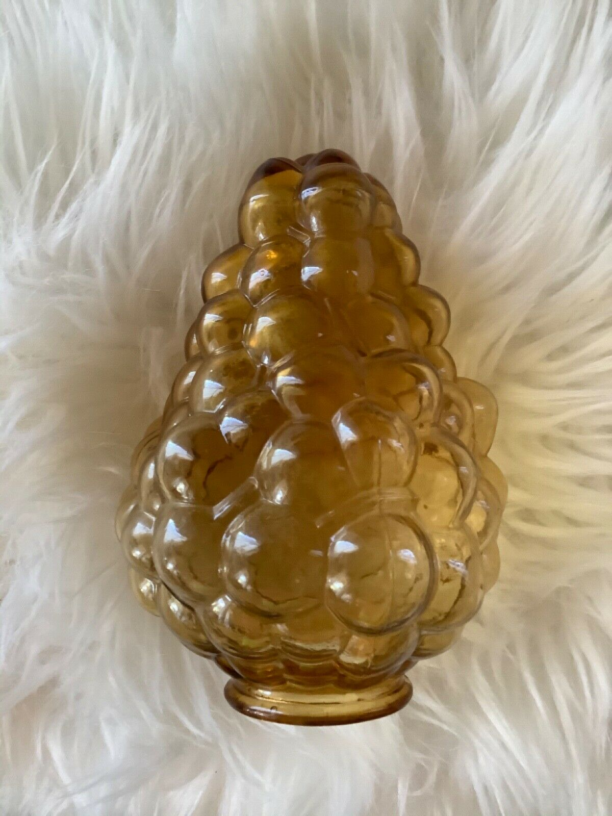 Vintage Art glass Grape Bunch bubble Globe Light AMBER shade fixture  2