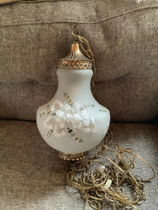 White Satin Glass Hand Painted Flowers Hanging Swag Lamp Light Vtg mid century