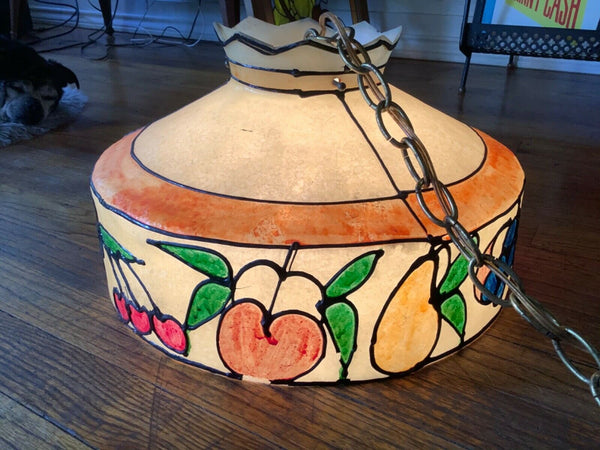 RETRO HANGING FIBERGLASS ART LAMP DINING SWAG SHADE 1960/70S fruit MCM