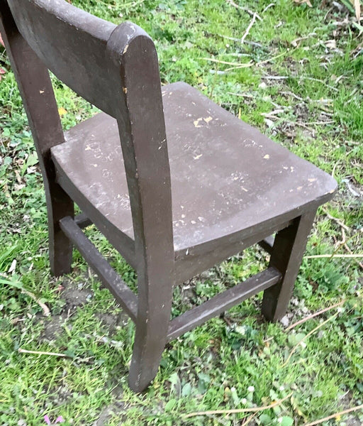 Vintage small brown painted Solid Wood wooden Child School Chair