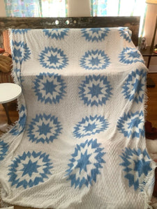 Vintage Blue white Brocade Damask Bedspread 100x70 and curtains mid century