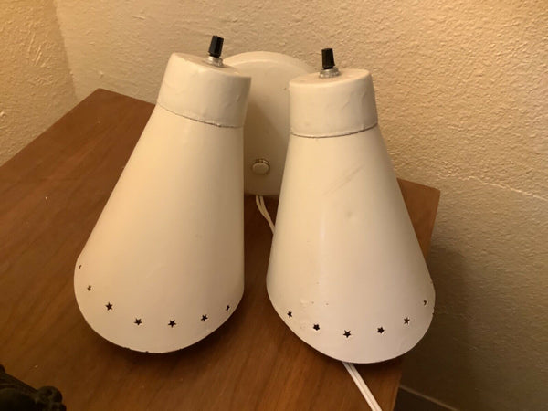 Vintage Mid Century modern Atomic Double Cone Wall Sconce Light fixture Lamp mcm