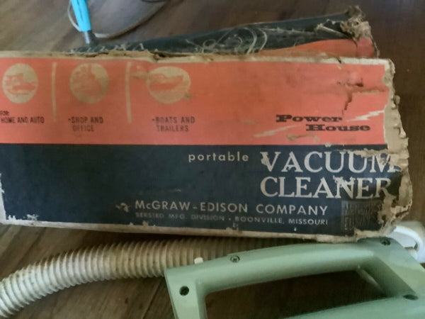 Vintage Power House Edison Mcgraw Electric Portable Vacuum Cleaner Works  & box