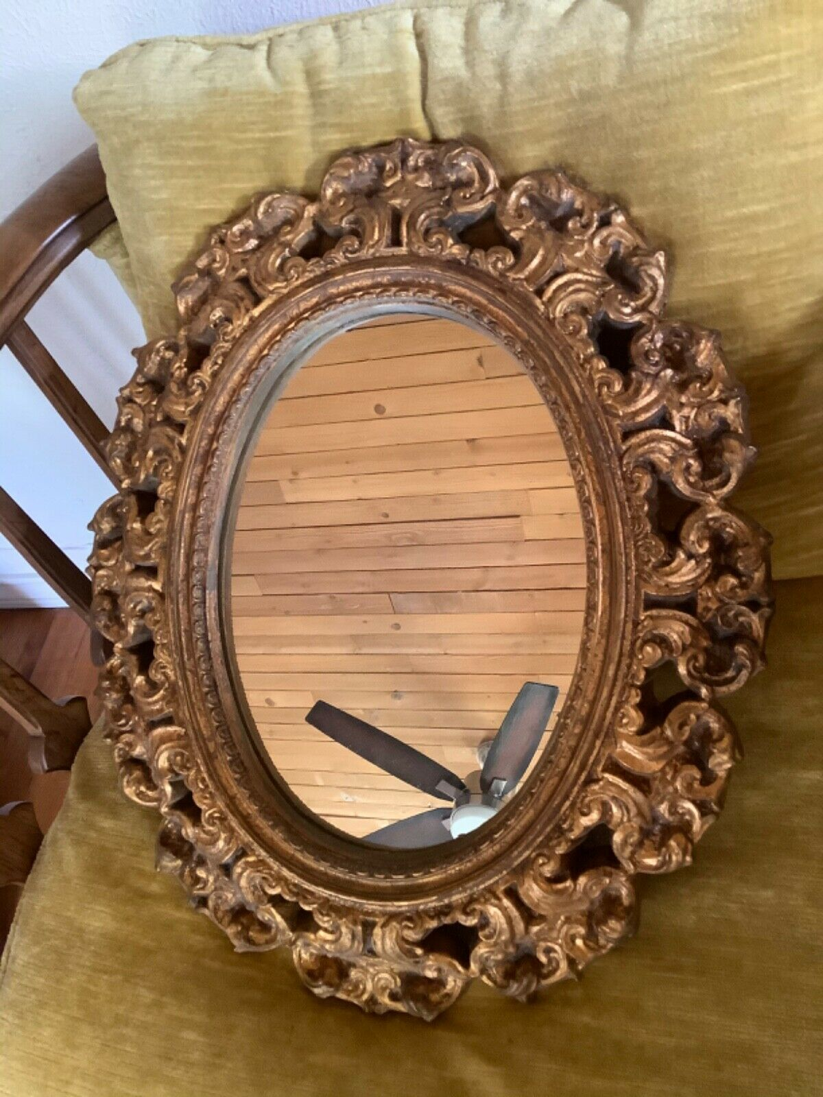 "Vtg Oval Gold gilt Mirror Hand Carved Wood Frame framed Wall Decor 19"" x 16"""