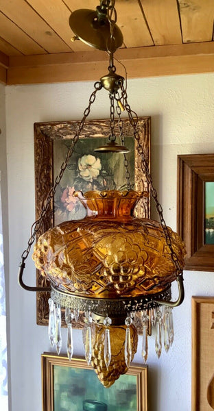 Vtg 1910 light fixture antique brass Amber glass shade GWTW gone with the wind