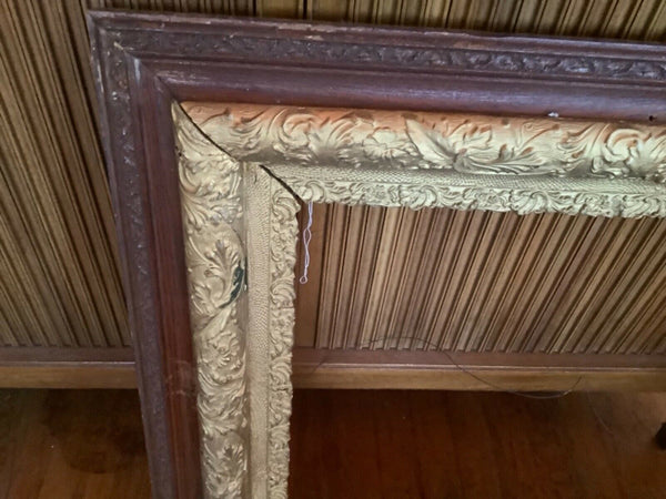 VINTAGE antique Wooden wood gold gesso gilt leaf Large Picture painting  Frame 2