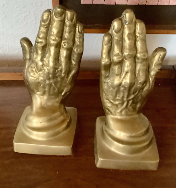 Pair Vtg mid century modern retro  Brass metal Praying Hands Bookends Book ends