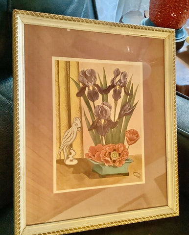 Vintage Gabrielle Mid Century Shabby Chic Floral Framed wood  frame Print art