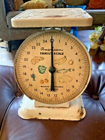 Vintage Antique American Family Scale 25 pounds Cream Rustic Farmhouse country