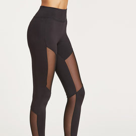 Black Wide Waistband Mesh Insert Leggings