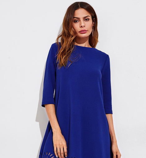 Scallop Laser Cut Hem Swing Dress
