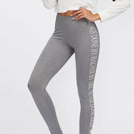 Printed Side Heather Knit Leggings