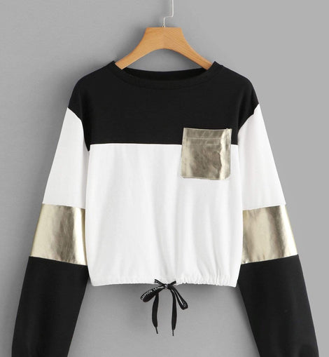 Drawstring Detail Colorblock Sweatshirt