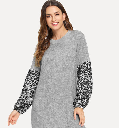 Leopard Panel Sleeve Dress