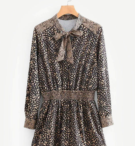 Tie Neck Leopard Print Ruffle Hem Dress