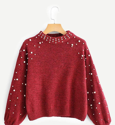 Pearl Beaded Bishop Sleeve Jumper