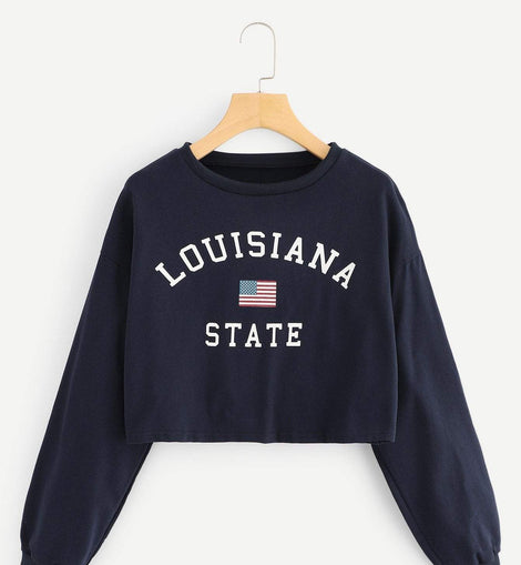 Letter And Flag Print Crop Sweatshirt