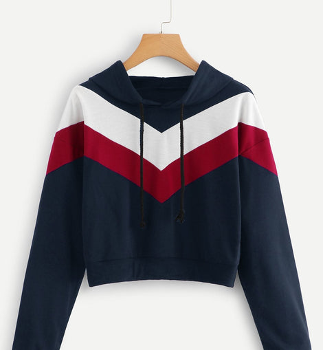 Chevron Print Hooded Sweatshirt