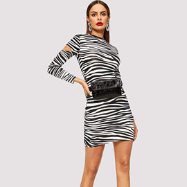 Cut Out Zebra Print Dress