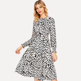 Leopard Print Shirred Waist Dress