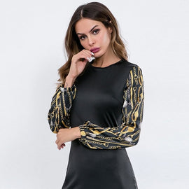 Chain Print Sleeve Dress