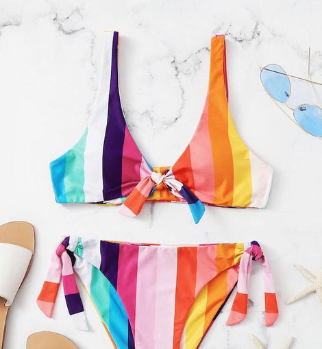Striped Knot Front Top With Tie Side Bikini