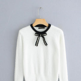 Bow Front Contrast Trim Fuzzy Jumper