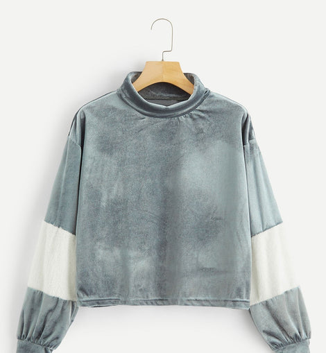 Drop Shoulder Mock-neck Velvet Pullover
