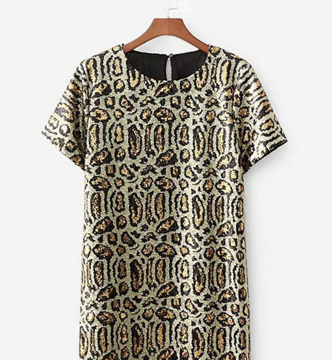 Leopard Pattern Sequin Tunic Dress