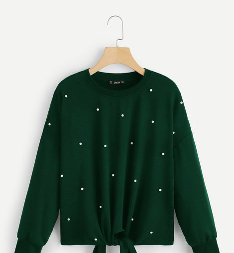 Knot Front Pearl Beaded Pullover
