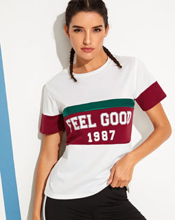 Contrast Panel Letter Print Tee