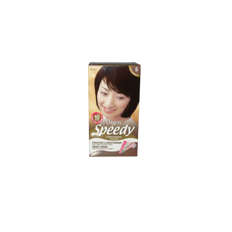 Bigen Speedy Conditioning Hair Colour (5) Deep Chestnut <br> Pack size: 3 x 1 <br> Product code: 200383