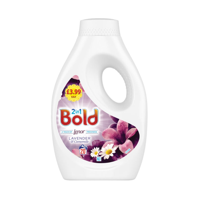 Bold Washing Liquid Lavender & Camomile 700ml (PM £3.99) <br> Pack size: 4 x 700ml <br> Product code: 482203