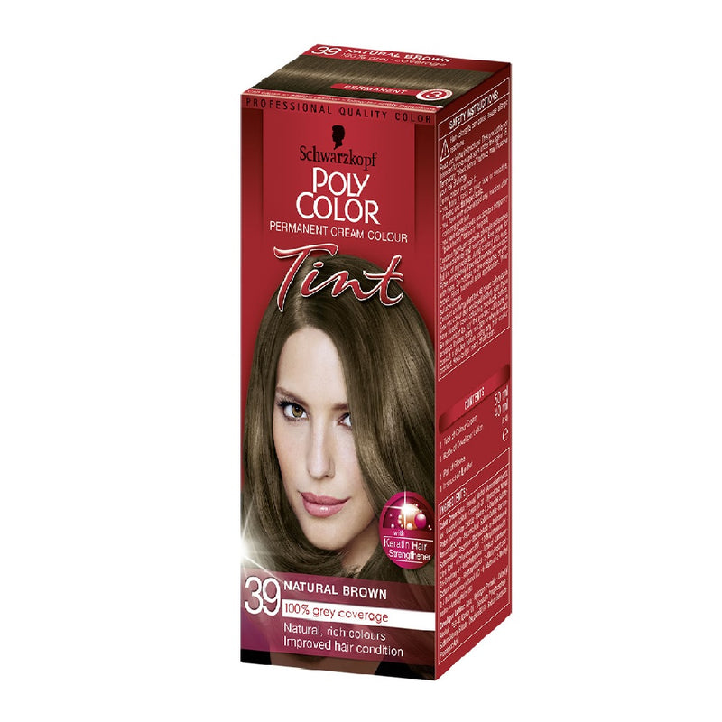 Schwarzkopf Poly Colour Tint 39 Natural Brown <br> Pack size: 3 x 1 <br> Product code: 204340
